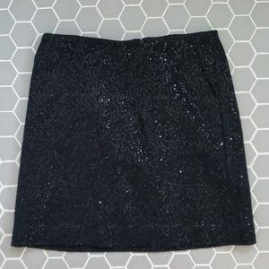 Ann Taylor black sequin mini skirt